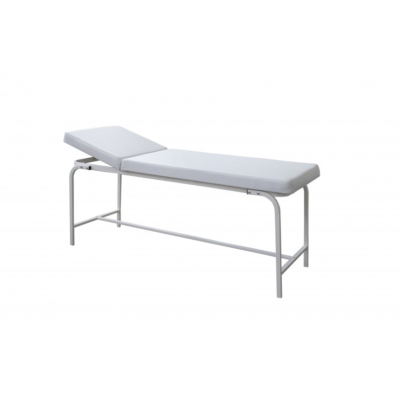 Examination table with bent steel frame