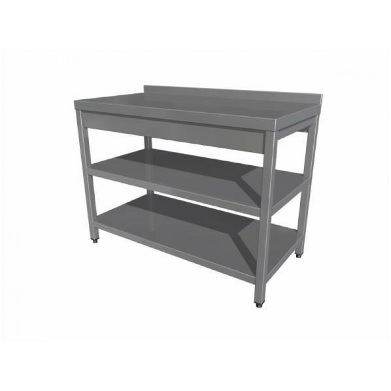 Eco work table with two shelf (with upstand)