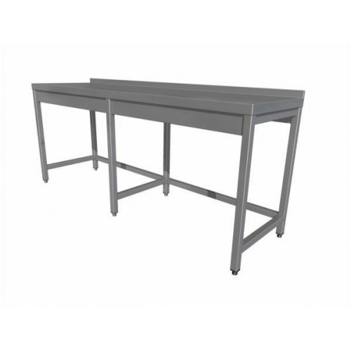 Work table without shelf (6 legs) with upstand