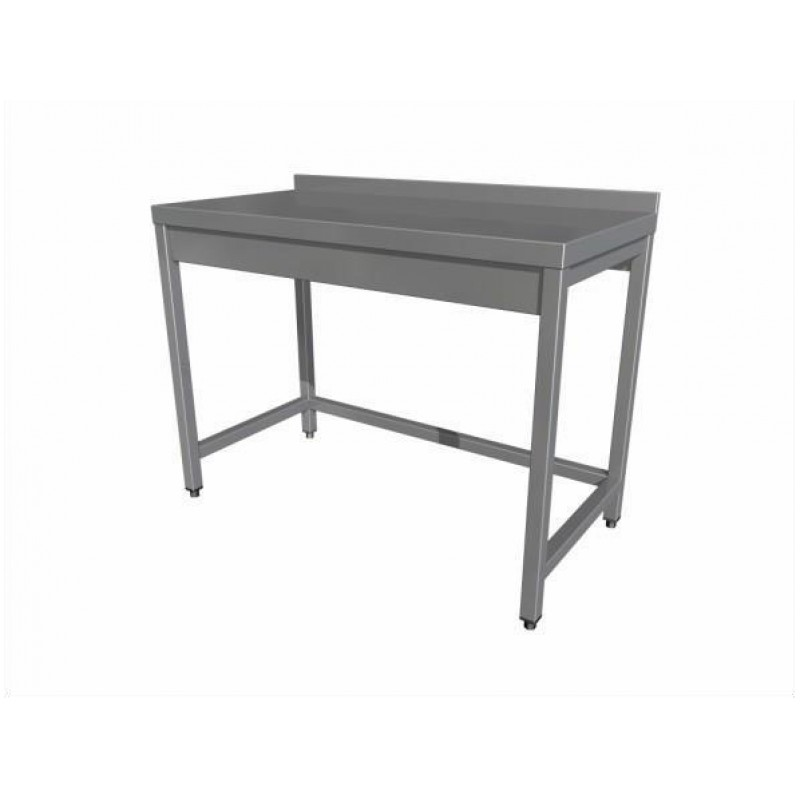 Work table without shelf (4 legs) with upstand