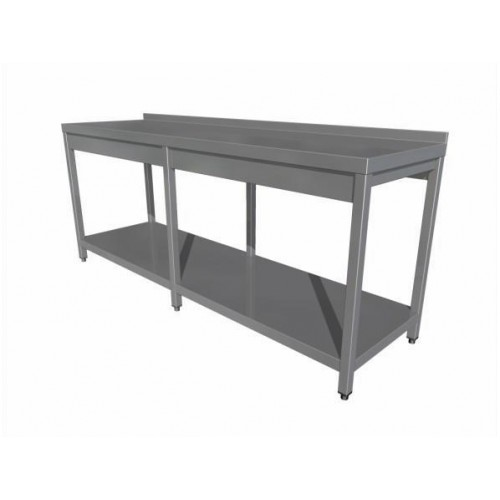 Work table with shelf (6 legs) with upstand