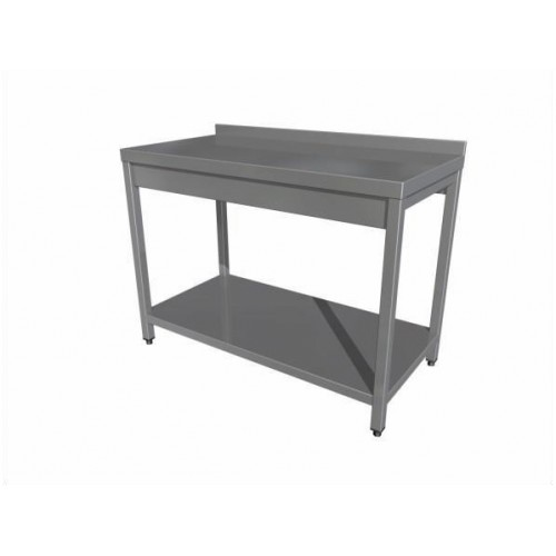 Work table with shelf (4 legs) with upstand