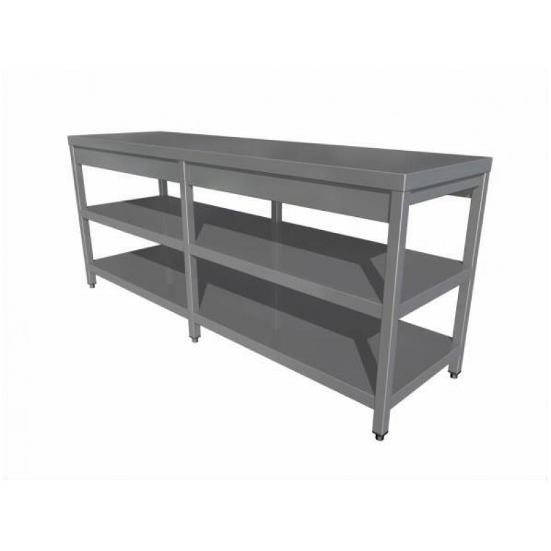 Work table with two shelves (6 legs)