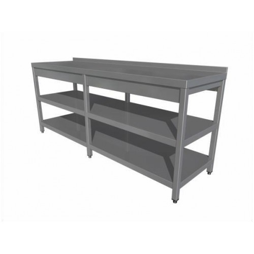 Work table with two shelves (6 legs) with upstand