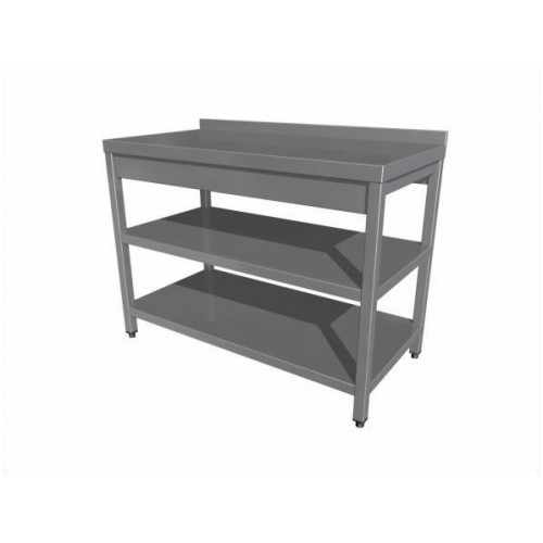 Work table with two shelves (4 legs) with upstand