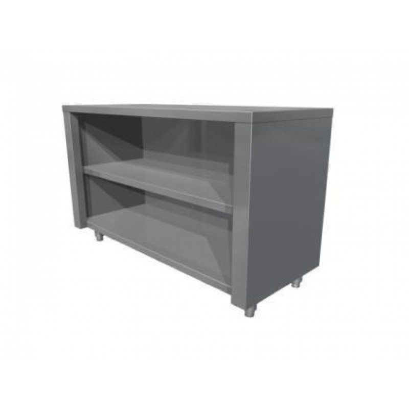 Neutral table with open cupboard