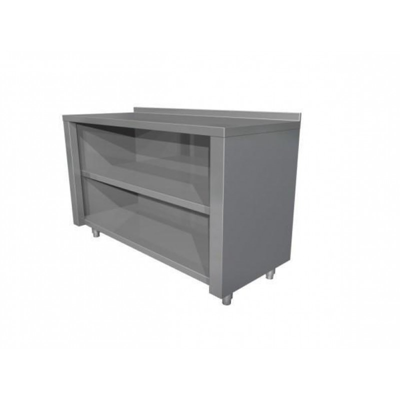 Neutral table with open cupboard with upstand