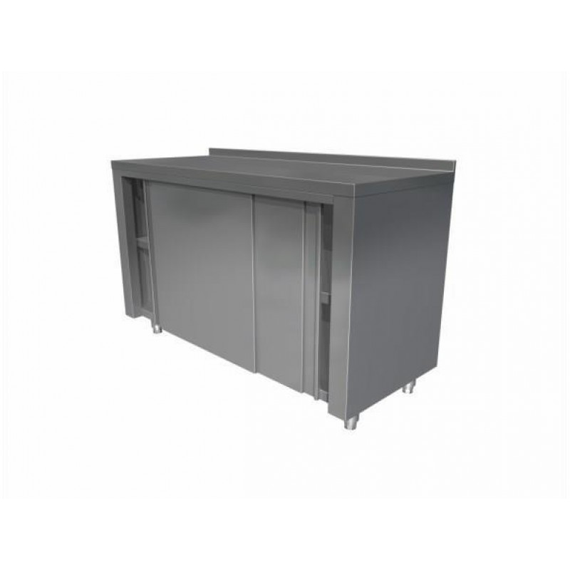 Neutral table with cupboard and sliding doors (with upstand)