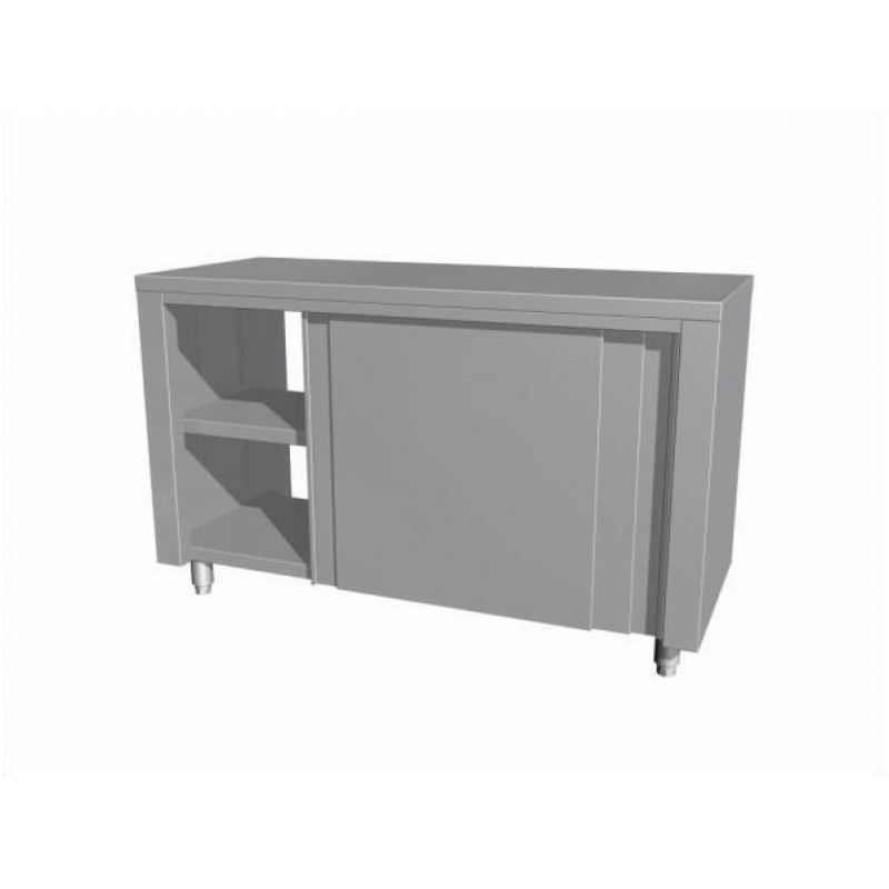 Neutral table with cupboard and sliding doors