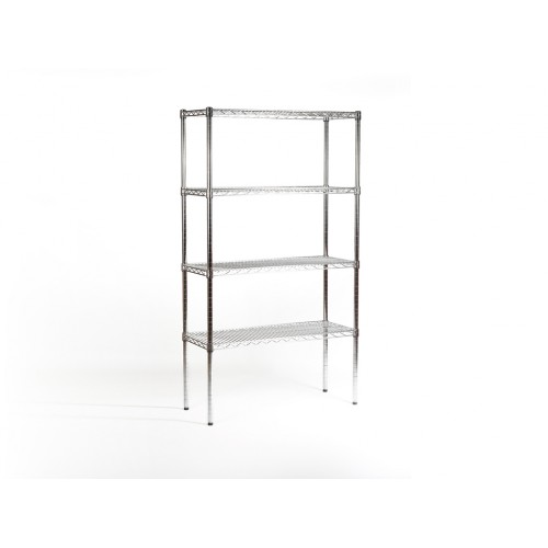 Chrome shelving unit with adjustable shelves